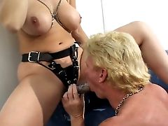 Sexually Certain Blonde With Big Knockers Makes Her Sub Eat Her Fuckbox
