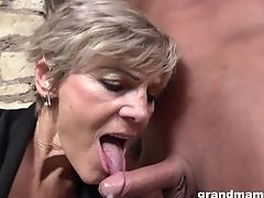 Grey Haired Matures Puckered Bitch Gives Her Man A Solid Blow-job