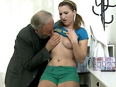 Ginger-haired Teenage Chick Blows Brief Dick Of Perverted Old Boy