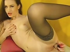 Hot Honey Strips And Fucks Her Caboose And Twat