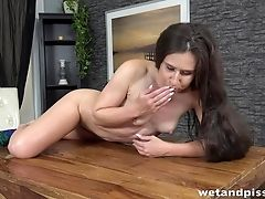Just Unwrapping Brown-haired Lara Fox Who Doesn't Mind Pissing