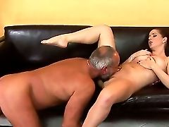 Sweet Youthful Buxom Stunner Nicole Gets Her Clean-shaven Cootchie Munched And Pounded Hard With A Ample Old Dick