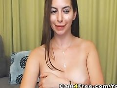 Pretty Chesty Stunner Playing Her Vagina On Webcam