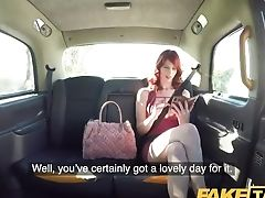 Faux Cab Hairy Red-haired Vagina Gets Fucked And Spunk Splattered In Cab
