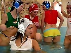 Crowd Of Sassy Chicks Determine To Have A Nasty Lezzies Orgy In The Swimming Pool