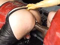 Submissive & Two Big Xl Massive Dildoes