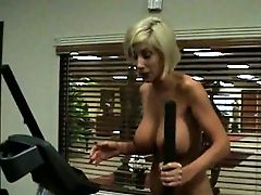 Mega Big-boobed Ash-blonde Pornography Actress Is Doing Exercises At The Gym