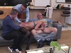 Depraved Blonde Tied Up A Hotwife And Gave Herself To Three Fellows