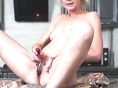 Skinny Matures Woman Artemia Uses Glass Fuck Stick For Taunting Her Twat