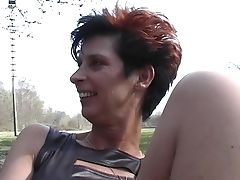 Brief-haired Dutch Granny Goes Outside To Do The Onanism
