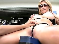 Hot Bootie Blonde Whore Kitana With Gigantic Natural Tits And Large Sunglasses In Black Underwear Gets Slurped By Voodoo In Backyard And Takes On His