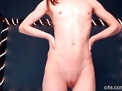 Skinny Flatchested Kitty All Exposed