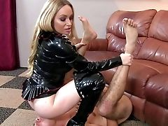 Lengthy Haired Blonde Cougar Aiden Starr In Black Mistress Garment